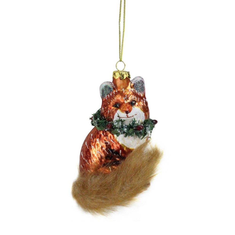 Küchenideen für wohnmobile northlight  fox with faux fur tail and wreath christmas ornament