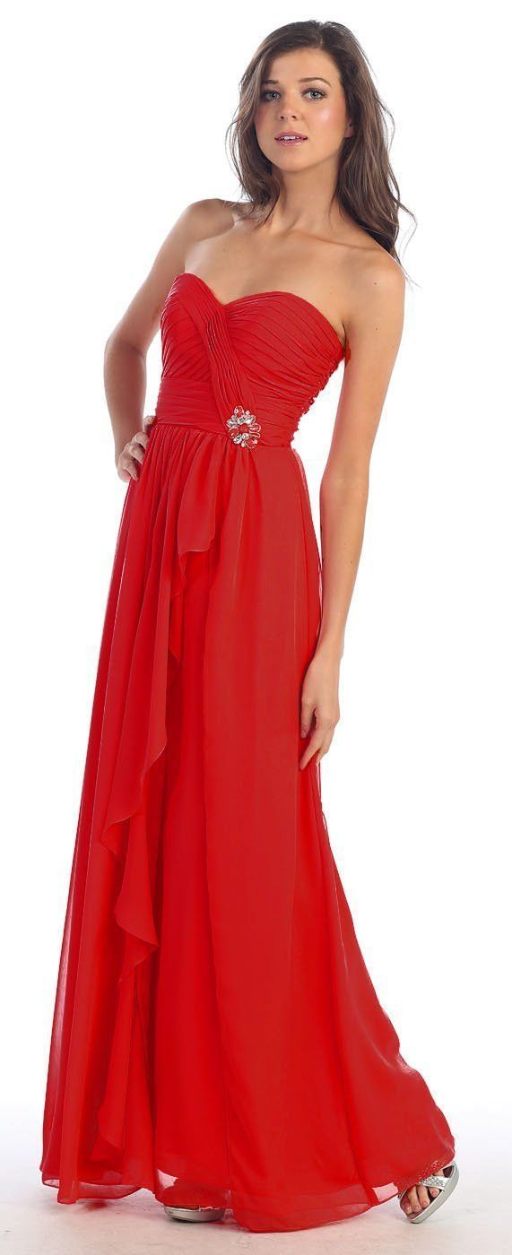 Bridesmaids long strapless sweetheart pleated chiffon formal evening