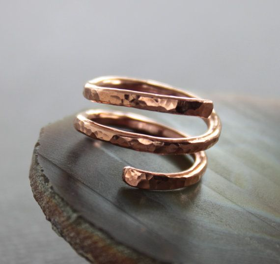 Shiny And Textured Copper Spiral Ring