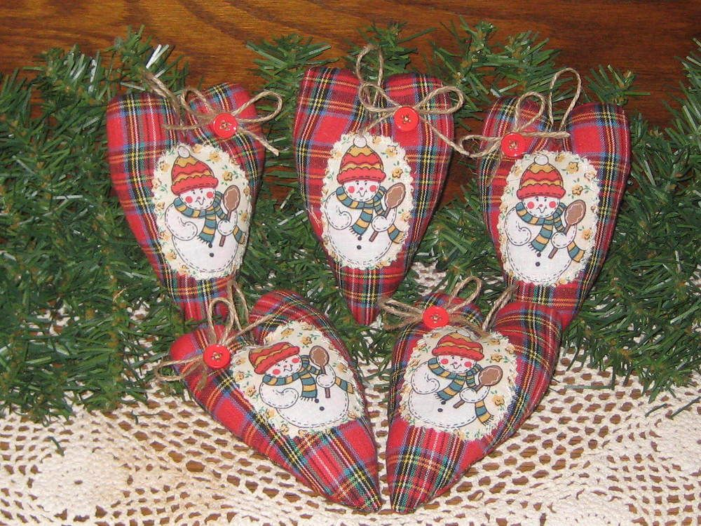 Details about 5 Appliqued Snowmen Red Plaid fabric hearts Tree