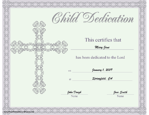 This Beautiful Religious Certificate Of Child Or Baby Dedication