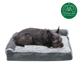 FurHaven Pet Bed | Two-Tone Faux Fur & Suede Deluxe Chaise Lounge Pillow Sofa-Style Dog Bed (Medium - Dark Sage), Dark Green