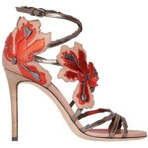 08f38a24b56 Jimmy Choo Women 100mm Lolita Flower Leather Sandals
