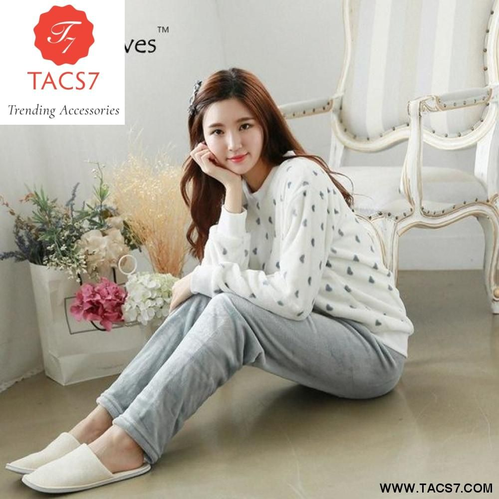 Winter Thick Flannel Pajamas Warm Women Sleepwear Set – Trending Accessories 213aad3e5
