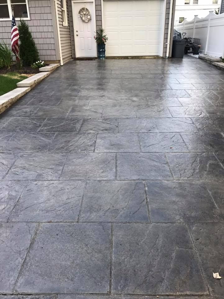 Gray Stained Concrete Patio