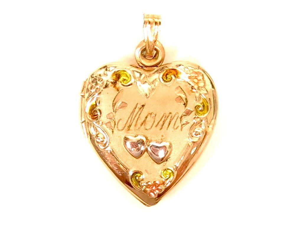 """MOM"" Pretty Heart Locket Gold Filled Vintage Signed 1/20 12K GF TF Pendant*E692"