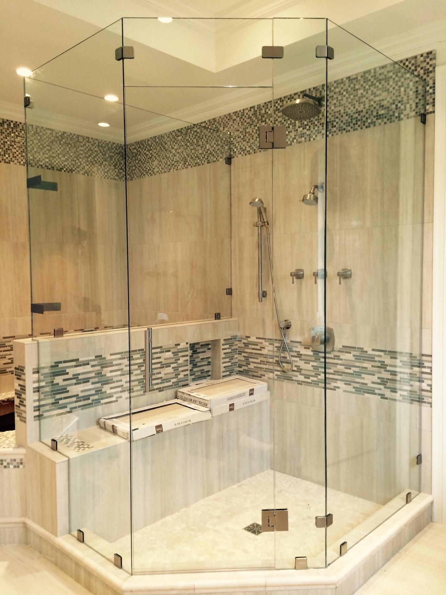 Heavy Glass Neo Angle Ladder Handle Transom Above Door Shower