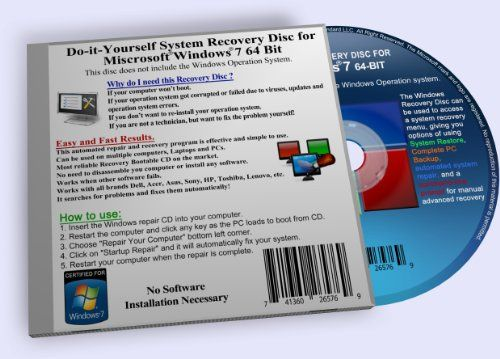 Recovery Boot Disc for Windows 7 System 64 BIT CD (Disk Comparable