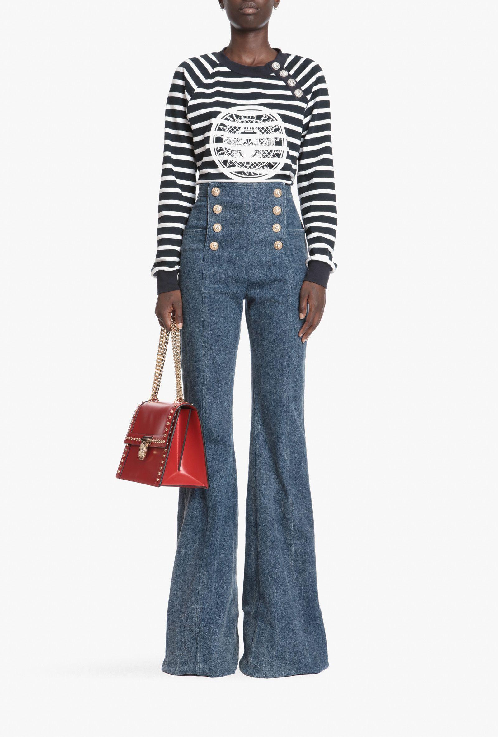 50b7e31a High-waisted flared-cut button-front pants | Women's pants | Balmain ...