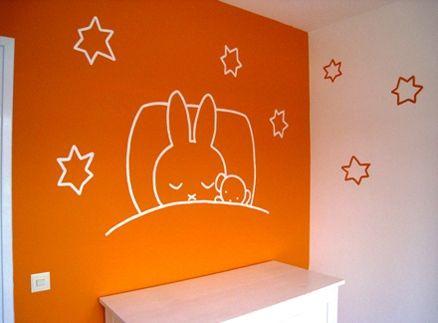 nijntje muurschildering in babykamer lijntekening - muurtekening, Deco ideeën