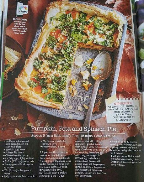 Pumpkin, spinach and feta pie