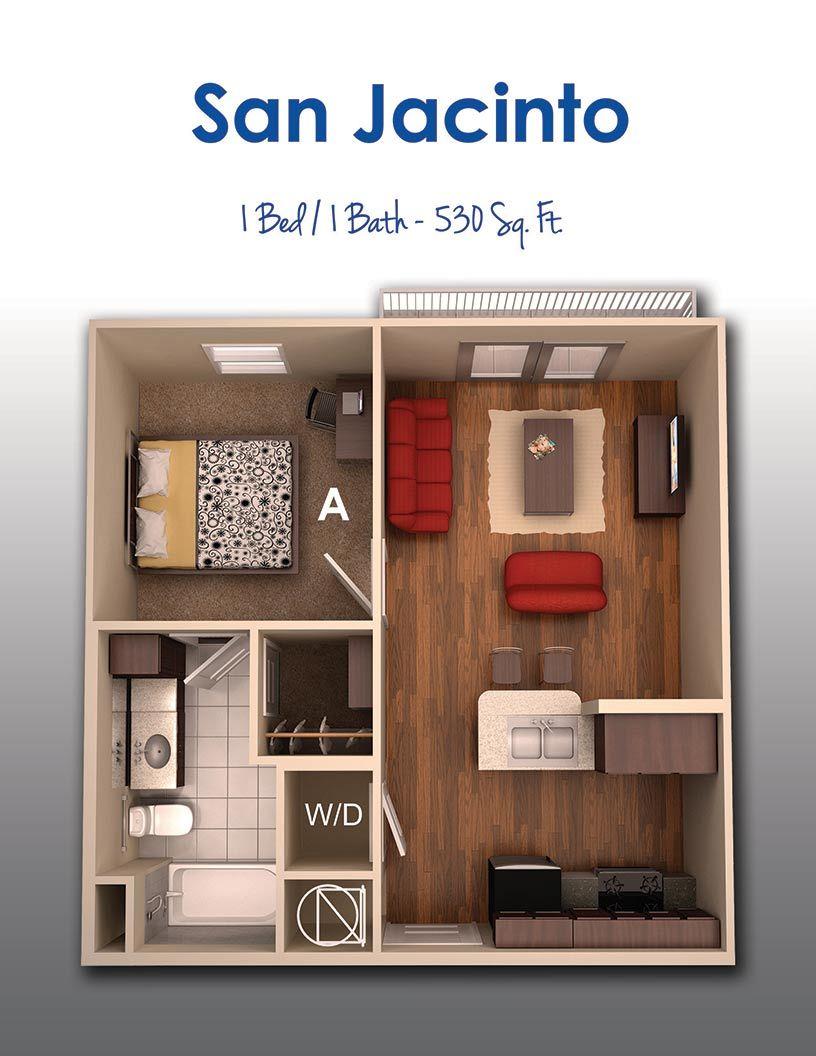 Plans En 3d Appartement Avec 1 Chambres