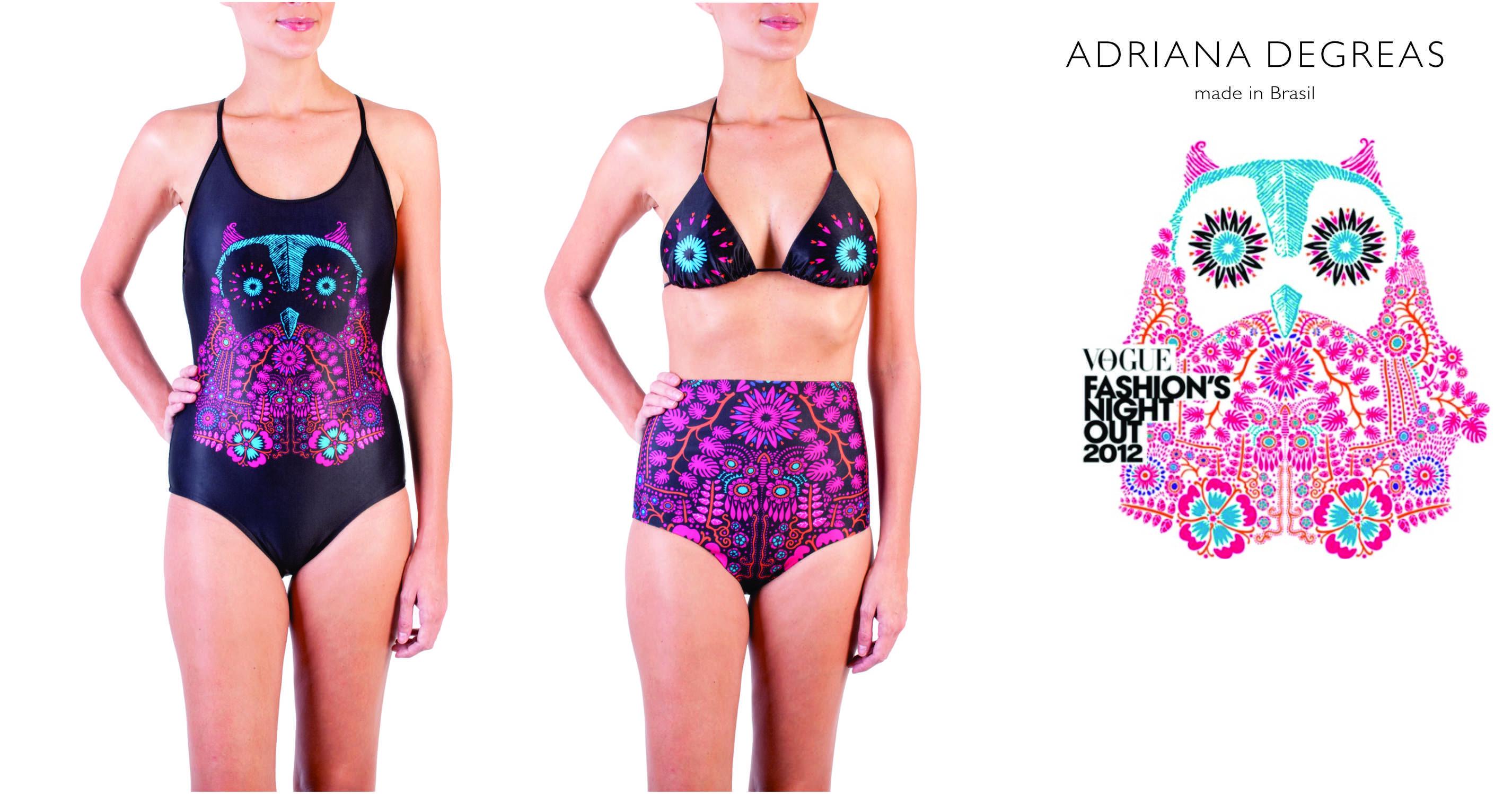 Adriana Degreas desenvolveu para o FNO um maiô e uma hot pants que serão vendidos no site e-closet.   SP: Cidade Jardim e Higienópolis dia 10.09   RJ: Fashion Mall e Shopping Leblon dia 12.09