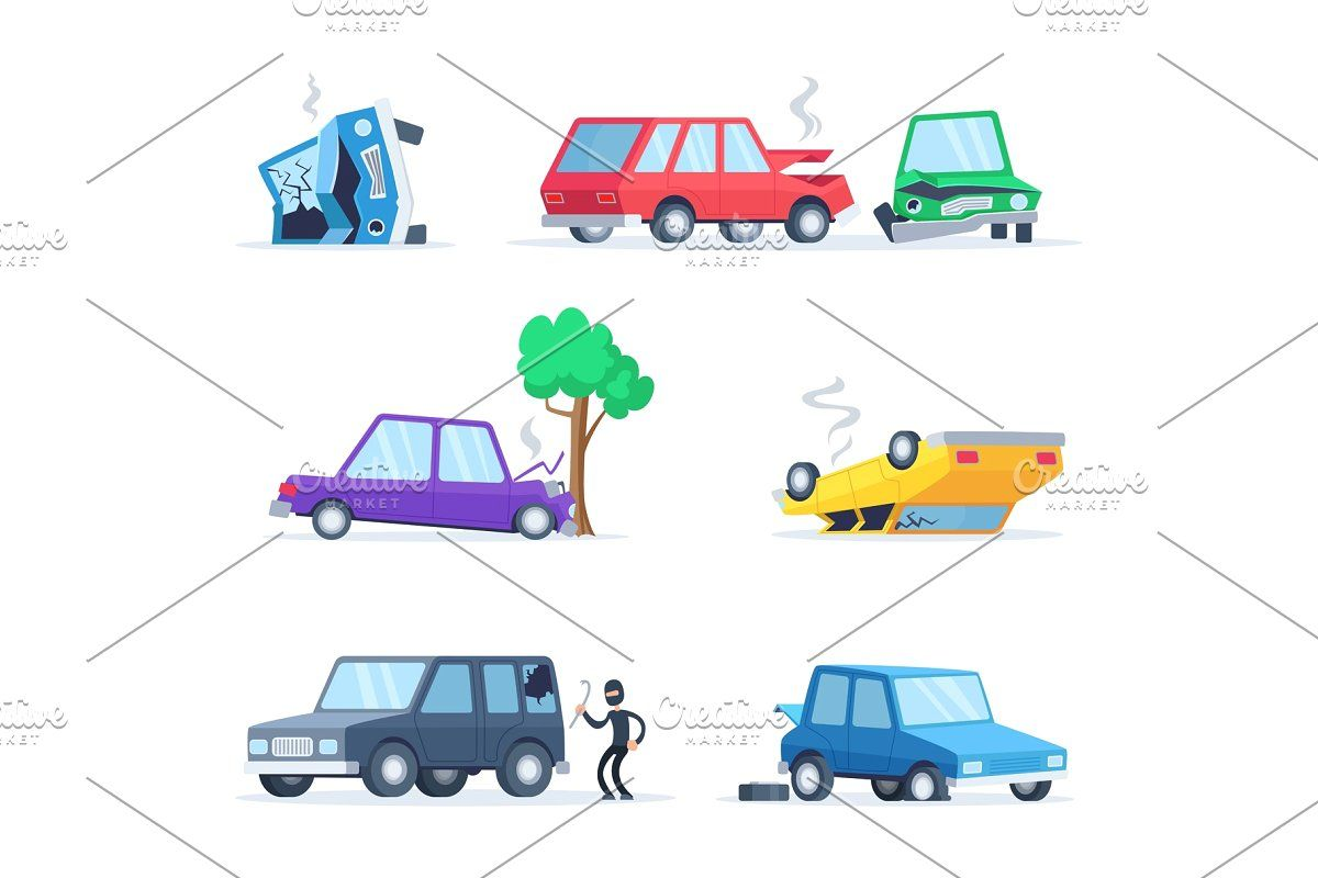 Transport Accident In Urban Cartoon Styles Graphics Layout Urban