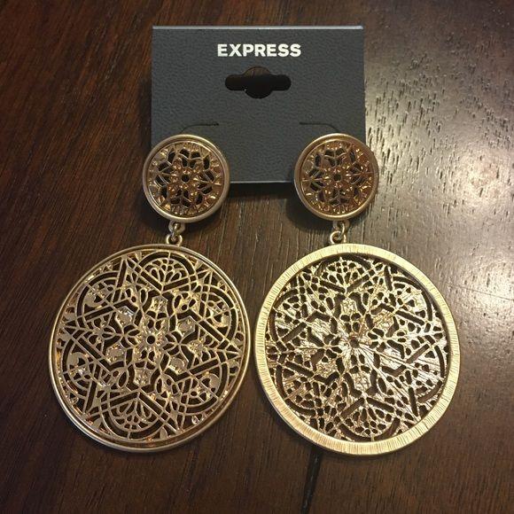 Gold Nwt Express Medallion Boho Earrings