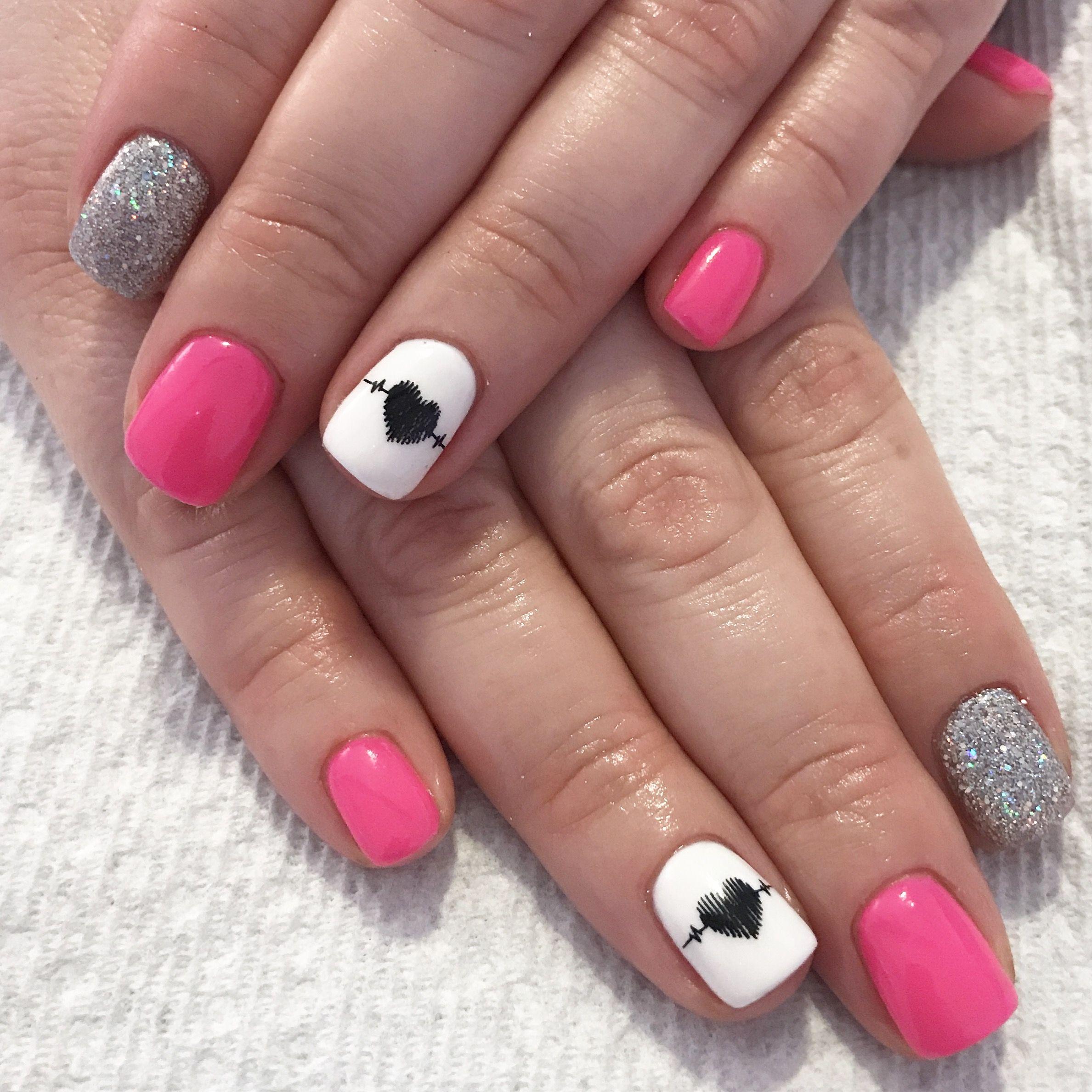nurse nails. nursing nails. pink nails. glitter nails. gel nails