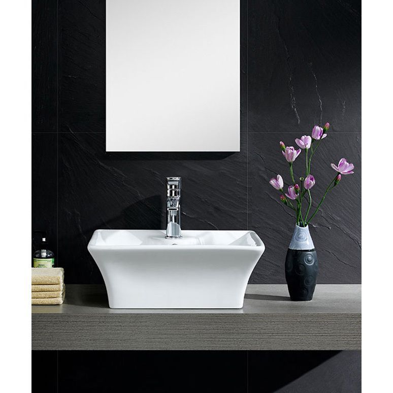 Fine Fixtures White Vitreous China Concave Square Vessel Sink (White - Vessel Sinks Bathroom