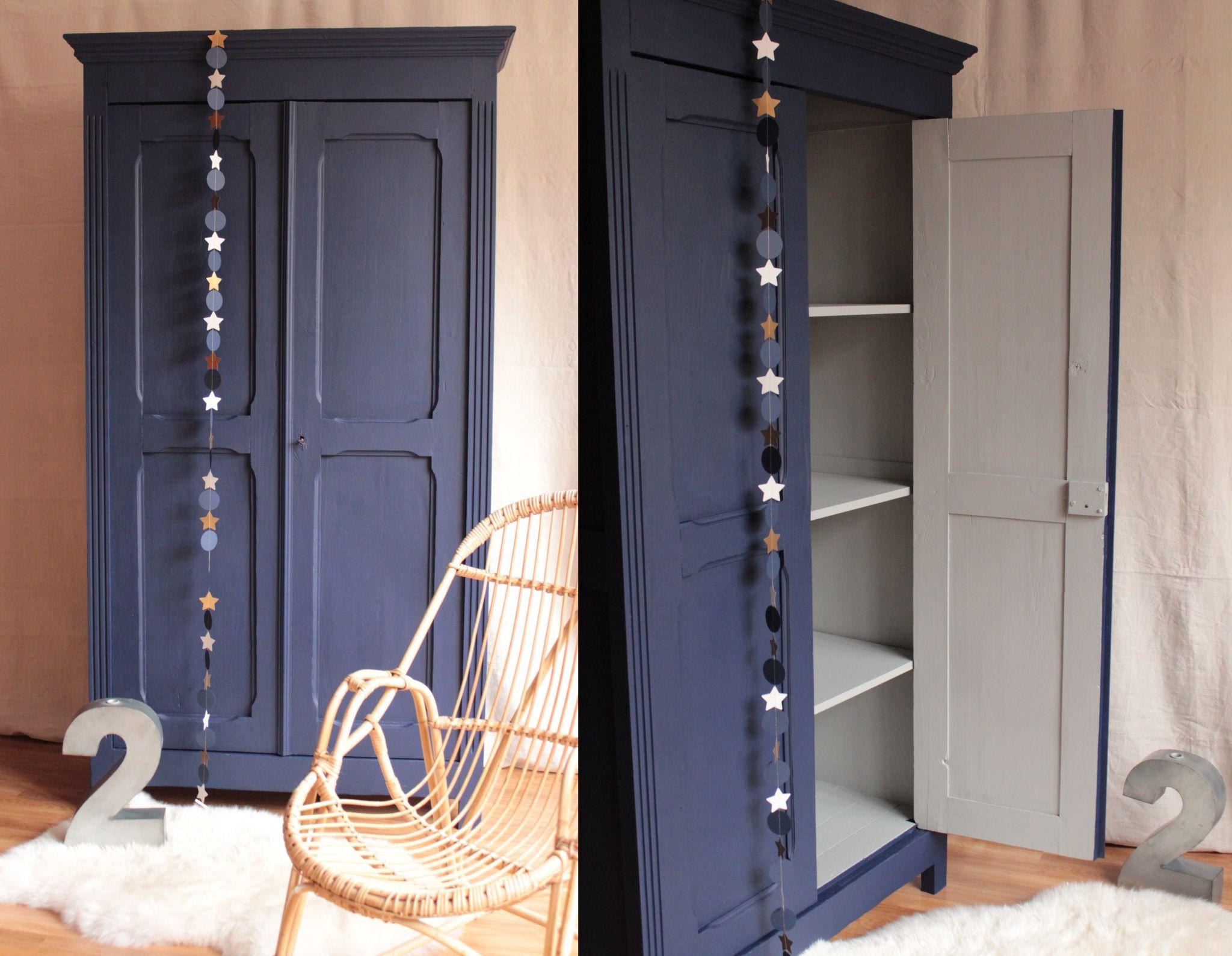 armoire parisienne penderie chambre enfant bleu nuit gris clair