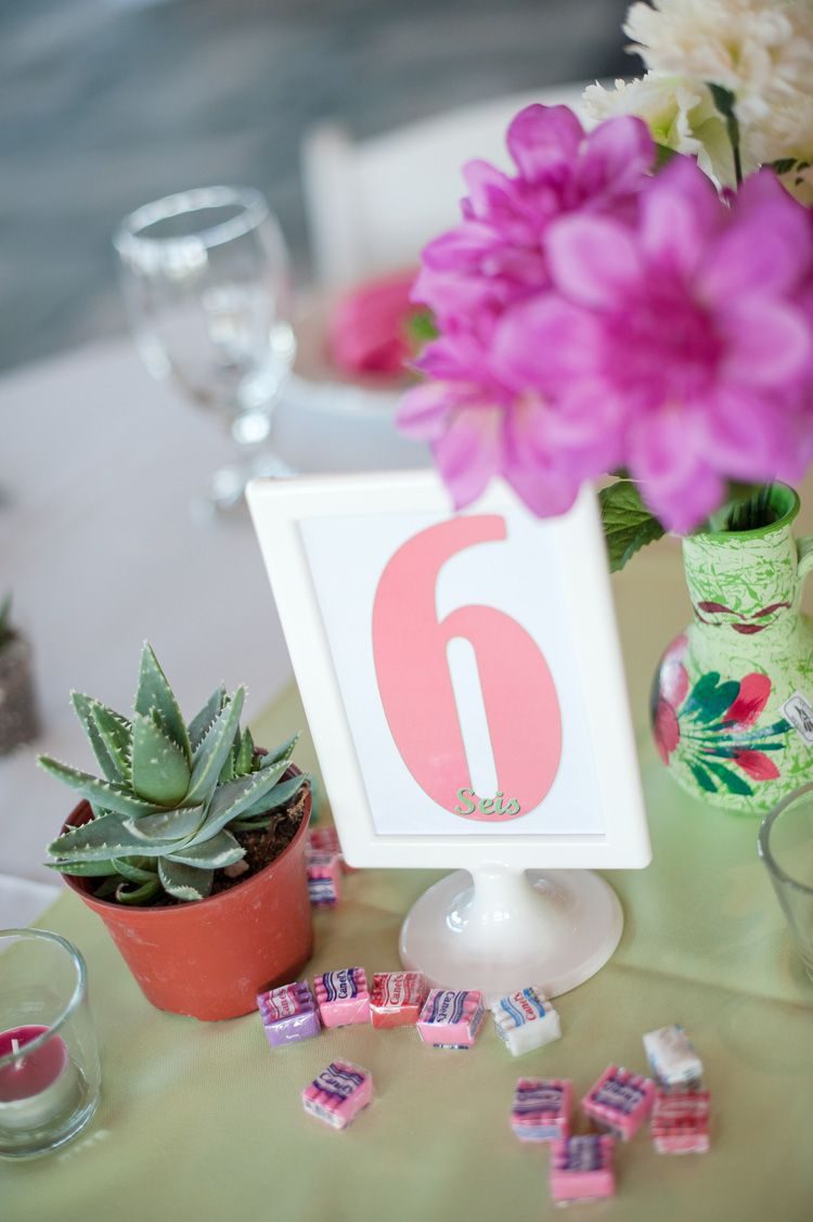My actual DIY pink and green wedding table decorations, which were ...