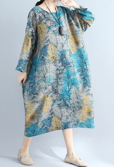 New women loose fit over plus size flower pocket dress tunic maxi ...