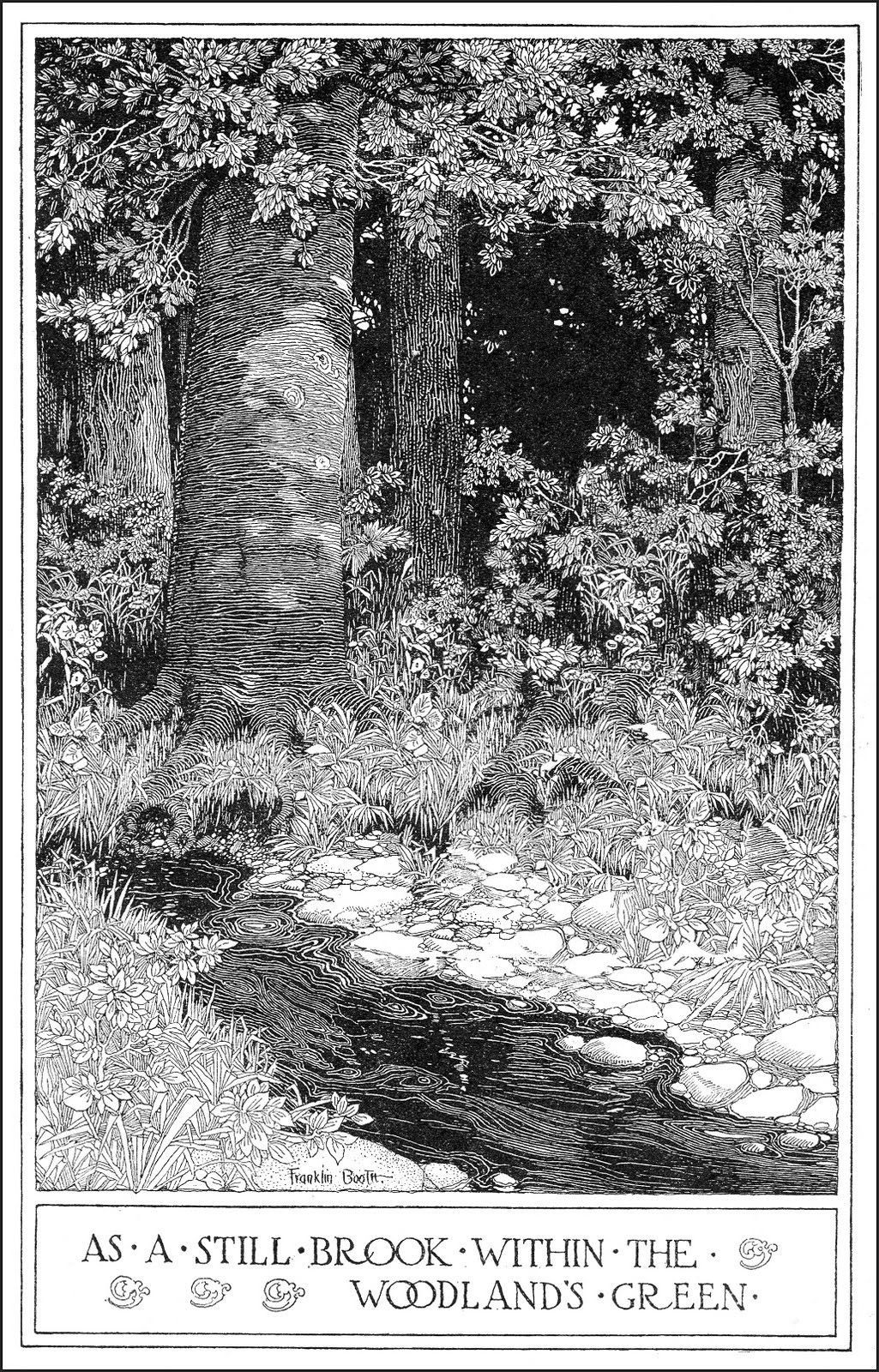"""Franklin Booth """"As A Still Brook"""" (modified) 1906 (poem by Thomas S Jones Jr)"""