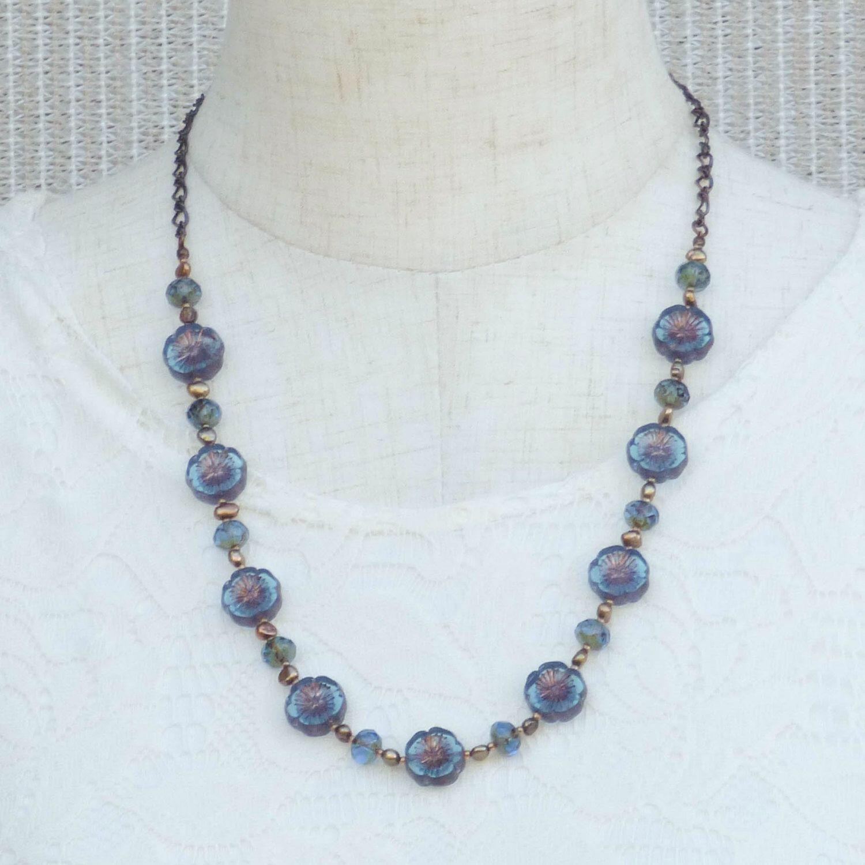 Aqua Blue Hawaiian Flower Beaded Necklace With Freshwater Pearls