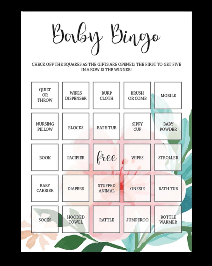 Printable Baby Shower Bingo Template
