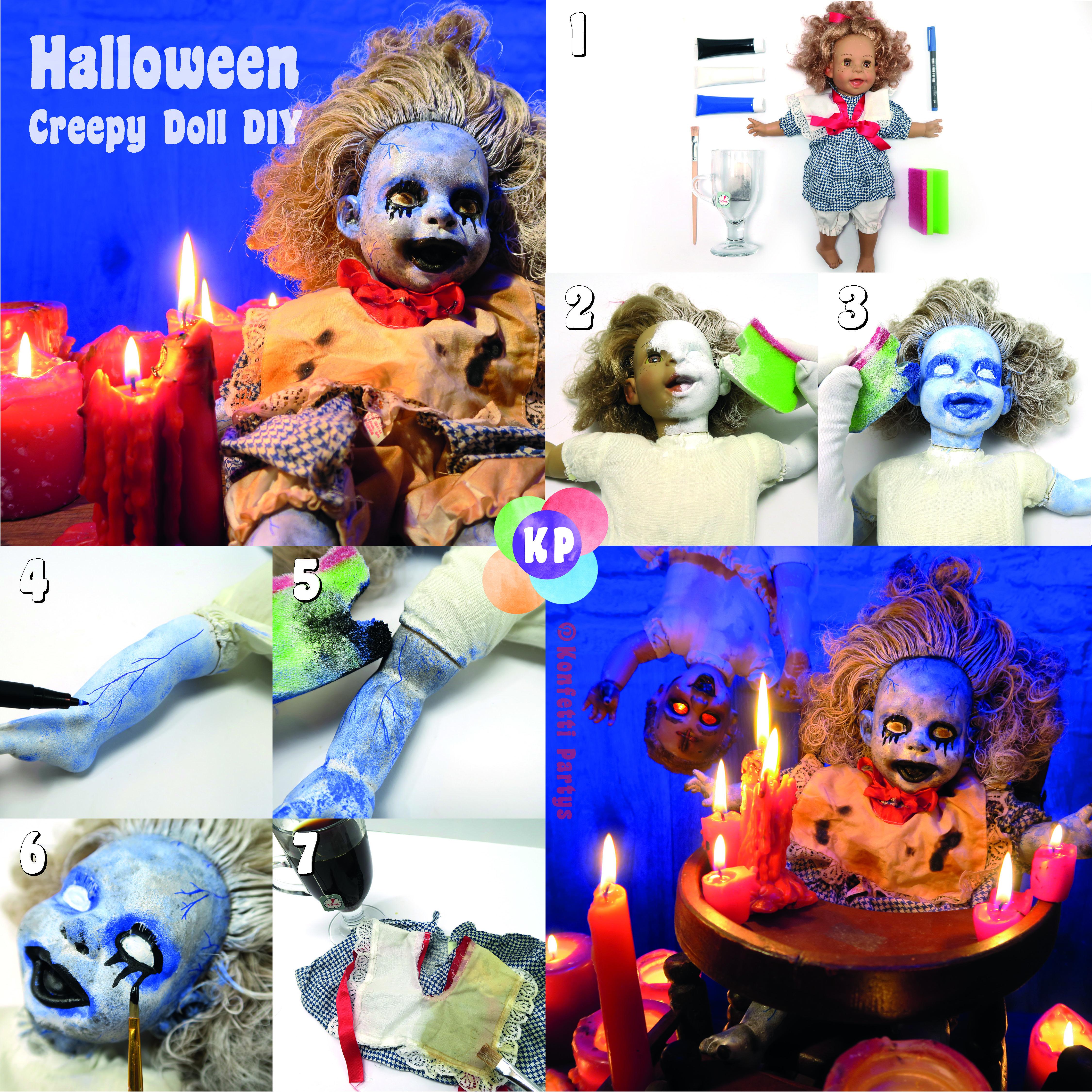 Creepy Doll Diy Gruselige Puppe Halloween Party Deko Basteln Craft Halloweendiy Konfettipartys Diy Hal Halloween Deko Halloweendeko Halloween Selber Machen