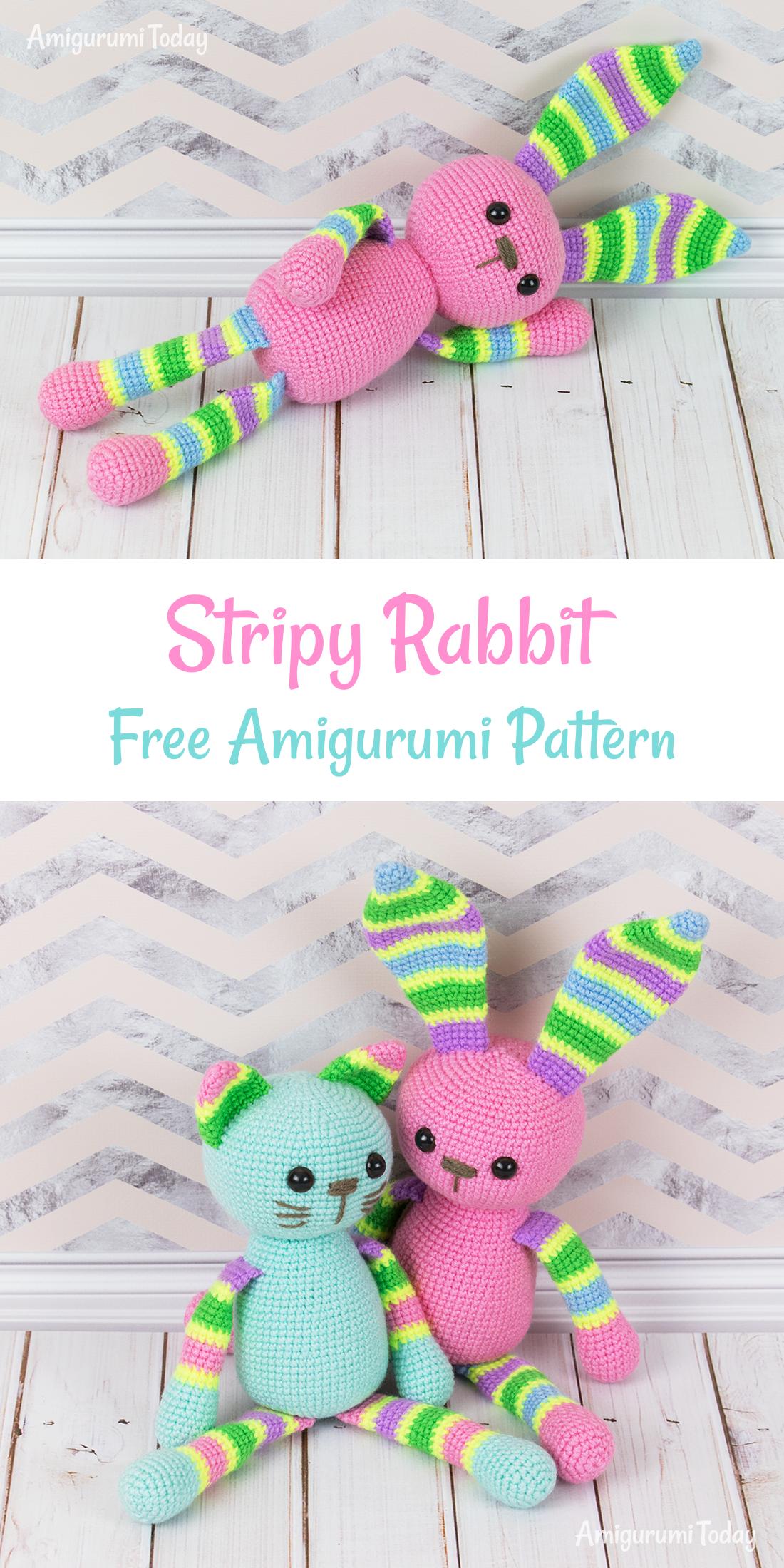 Stripy rabbit amigurumi pattern | Lanas | Croché, Ganchillo y Patrones