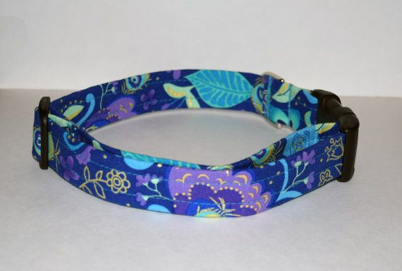 Floral Print Dog Collar Metallic Peacock Print by PawesomePups