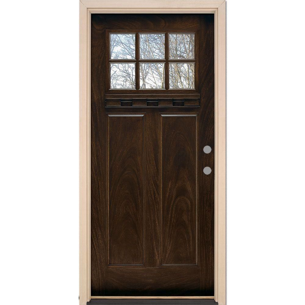 Feather River Doors 375 In X 81625 In 6 Lite Craftsman Stained