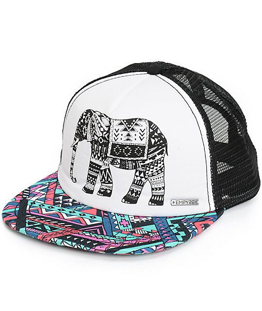 0c6d4974121cf Set your style apart from the rest with this adjustable trucker hat that  features a tribal elephant graphic on the padded front panels and a contrast  ...