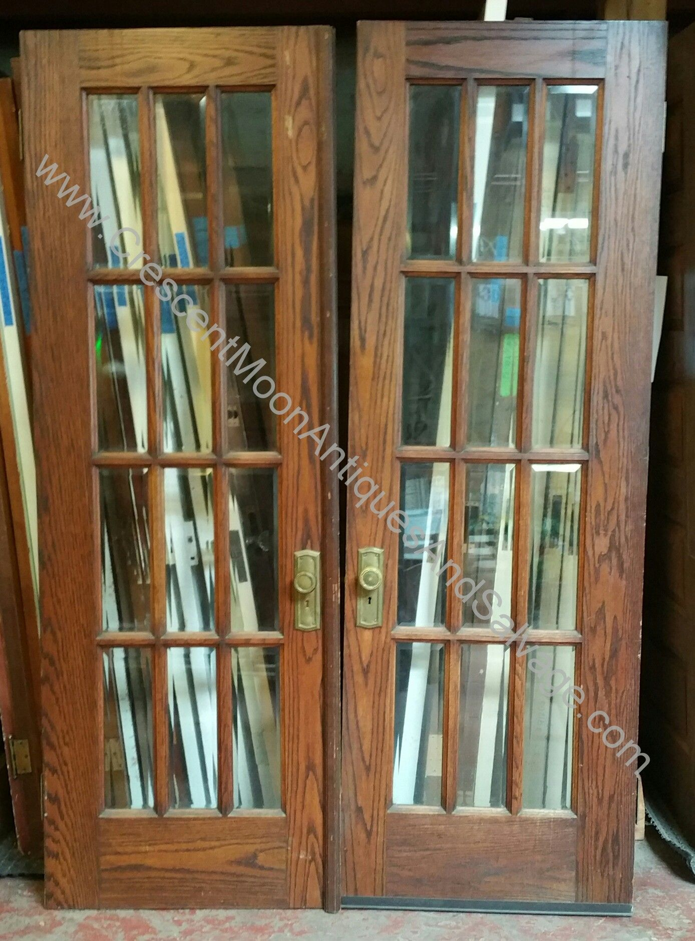 Salvaged Craftsman House Oak French Doors Antique Hardware Oak French Doors Craftsman House French Doors