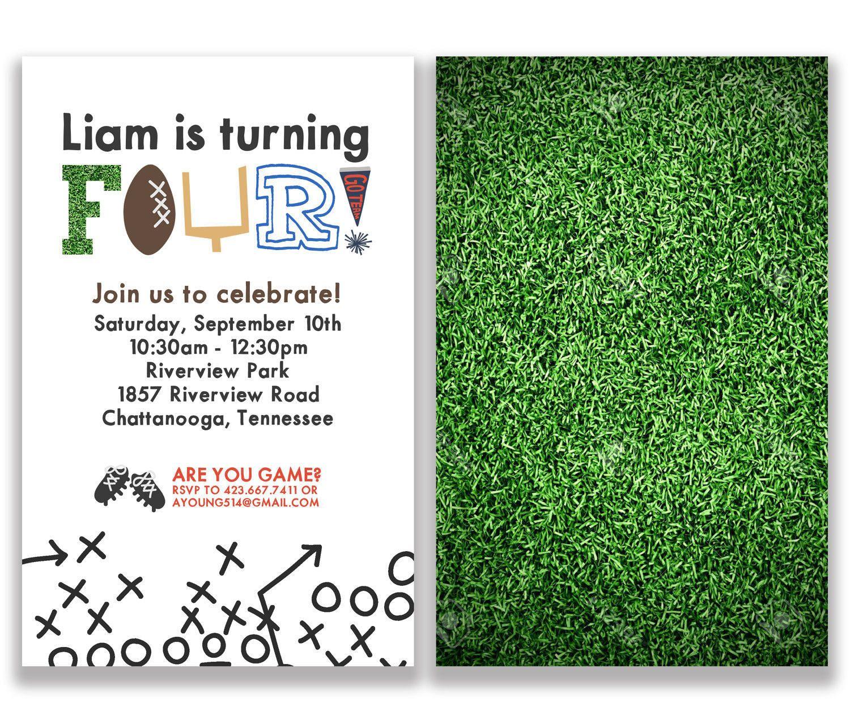 Football Birthday Invitation, Kids birthday, Athletic Invite ...