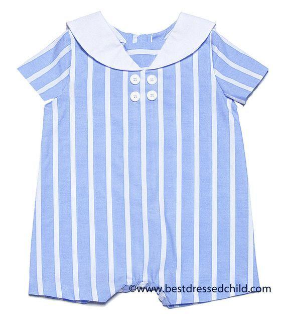 Frankie by Luli & Me Baby Boys Blue Striped Sailor Suit Bubble: