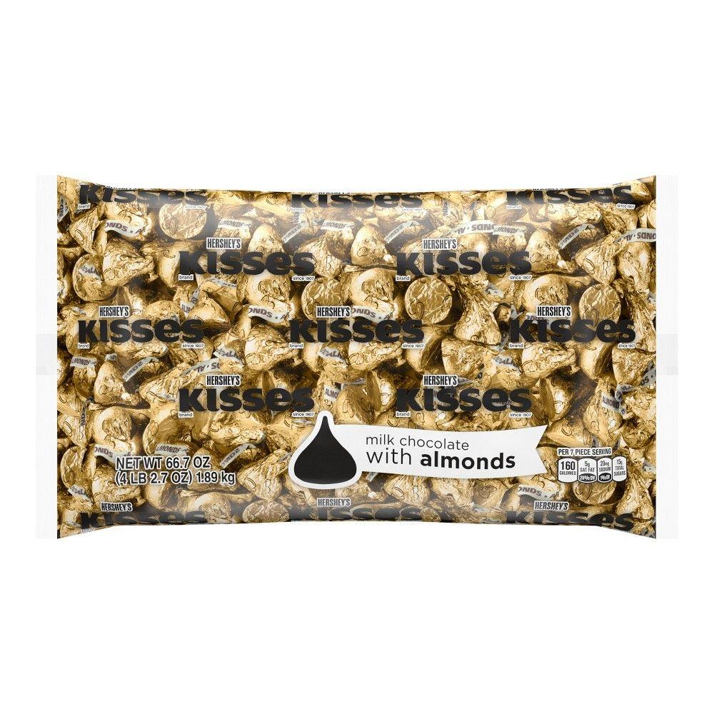Hershey S Kisses Milk Chocolates With Almonds Gold 66 7oz