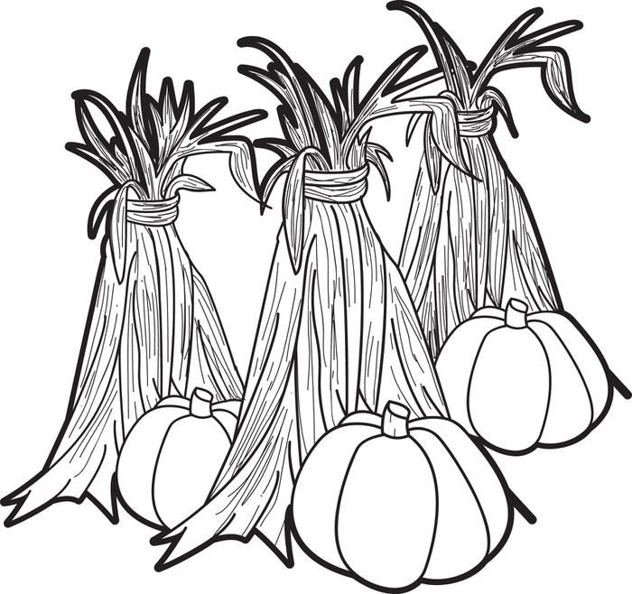 free printable fall coloring page for kids of pumpkins and corn stalks print it - Free Fall Coloring Pages Print