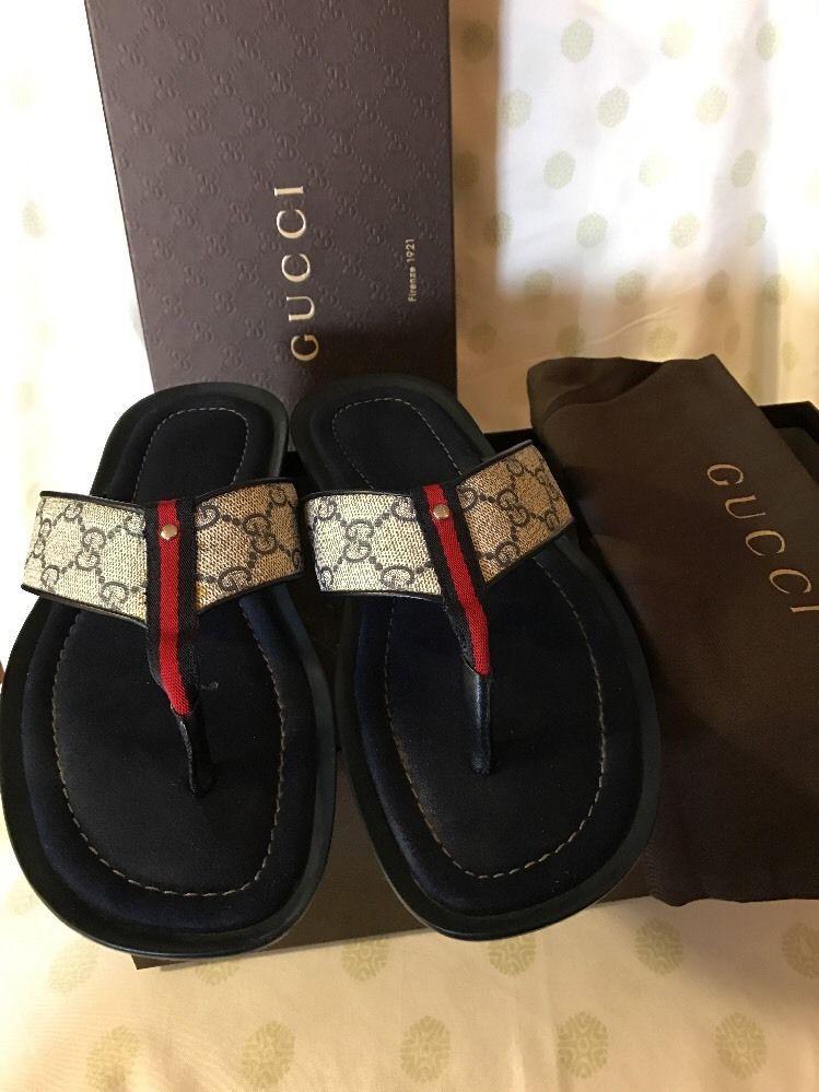 86318500efa46 GUCCI Men s Fashion Casual Summer Shoes Blue Flip Flops 256780 Size 9 G   10  US  Gucci  FlipFlops