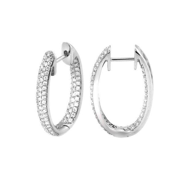 Mia Diamonds 14k White Gold with Glitter Hoop Earrings