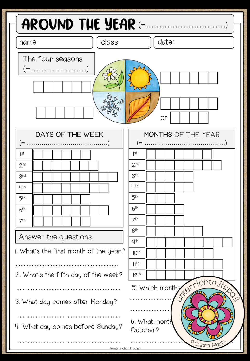 Around The Year Worksheet