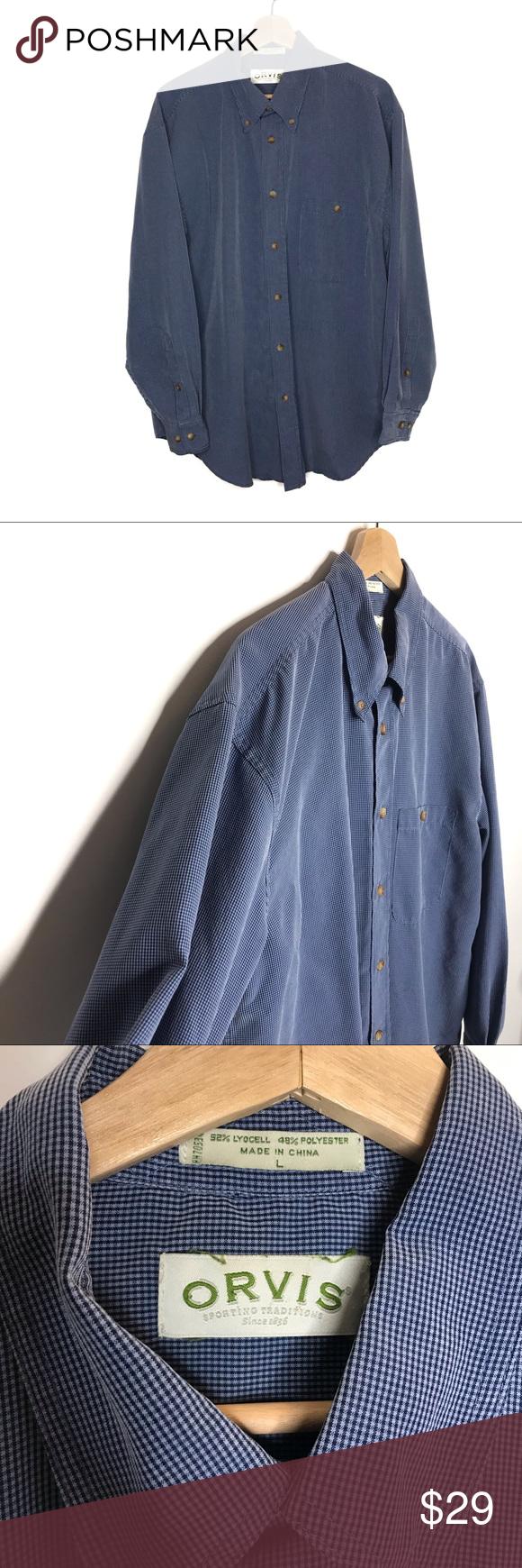 Orvis Blue Long Sleeve Button Down Dress Shirt Mens Shirt Dress Button Down Dress Shirt Dress [ 1740 x 580 Pixel ]