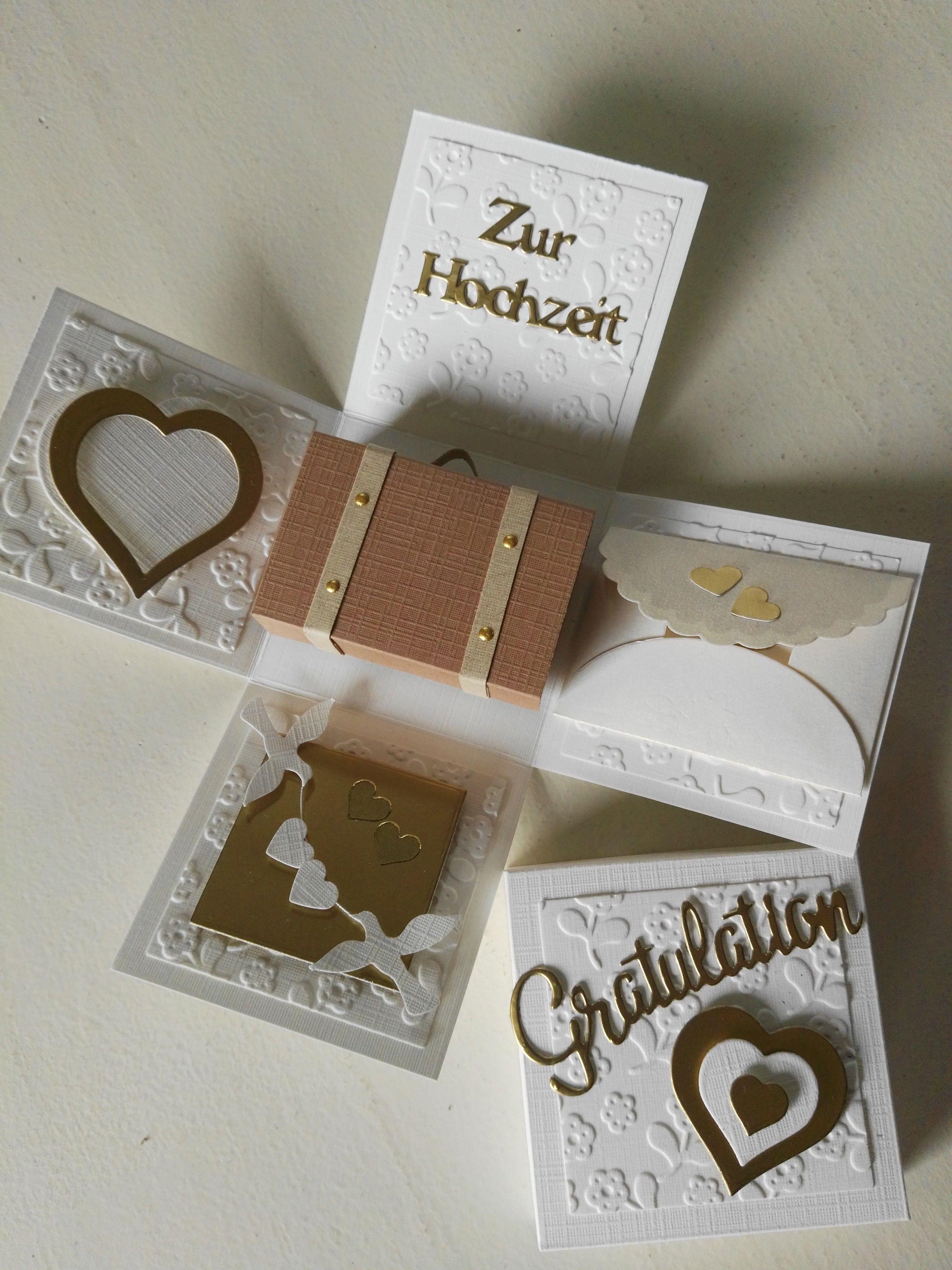 Explosionsbox Zur Hochzeit Box Cards Tutorial Exploding Box Card Exploding Gift Box