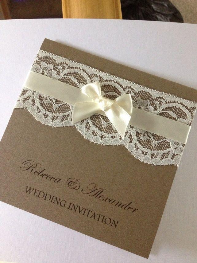 Personalised handmade vintage lace wedding invitation with Ribbon ...