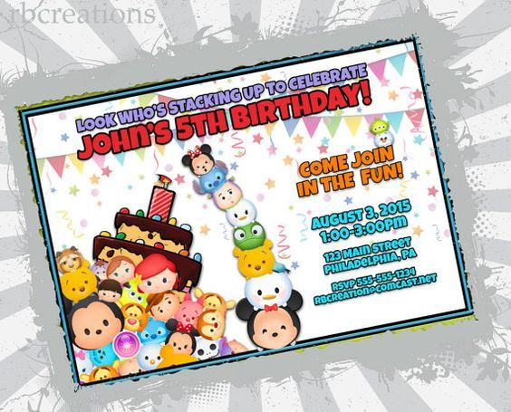 Tsum Tsum Birthday Party Invitation Digital 4x6 or 5x7 Printable