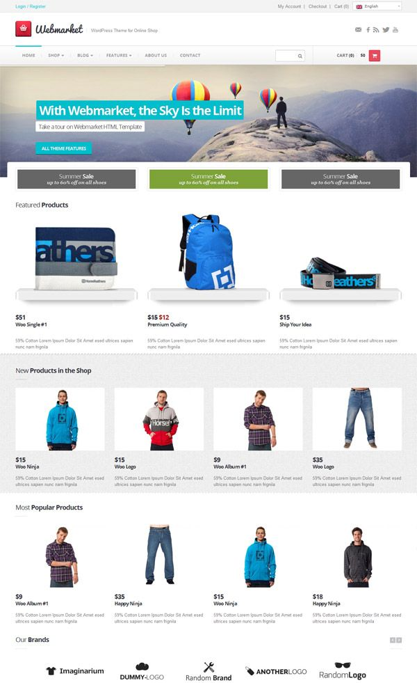 Webmarket WordPress Theme for Online Shop | Teme | Pinterest | Wordpress