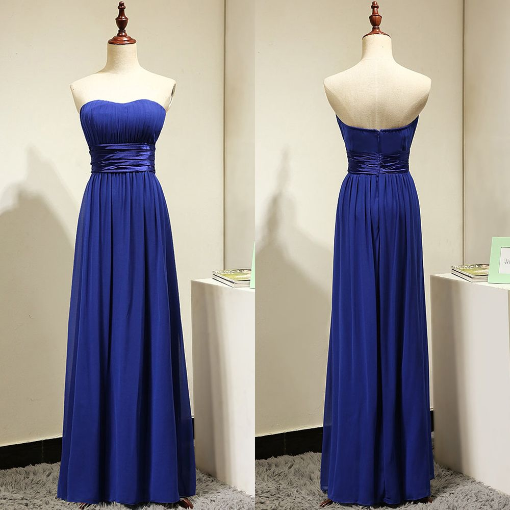 Aline strapless bridesmaid dresses with ruching detail royal blue