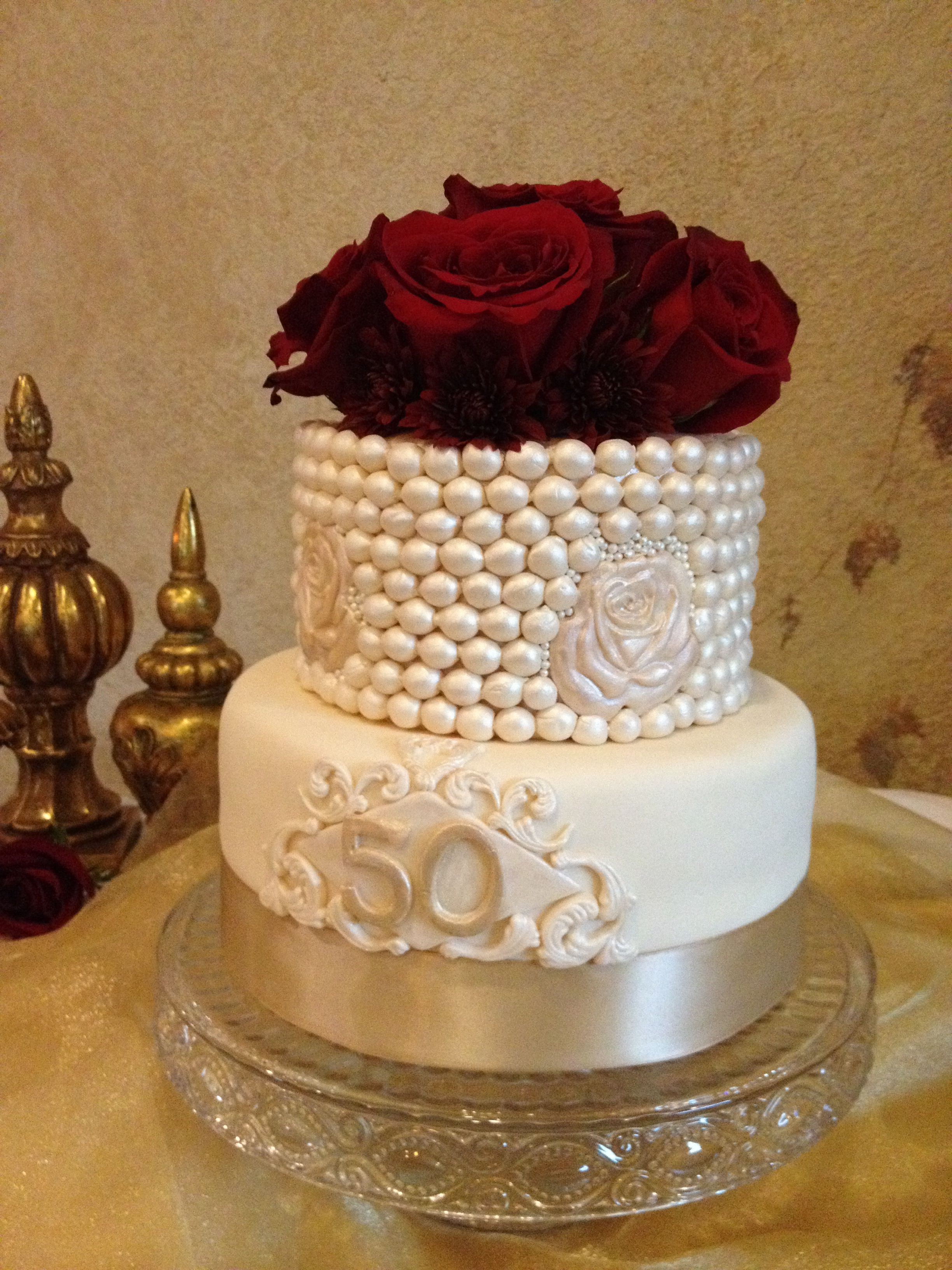 50th Wedding Anniversary Cake By Cakes Clarke Cream Colored With Rose Inlay And Pearl Design