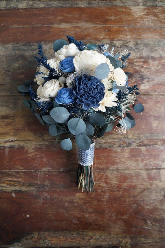 Blue, Silver and White Sola Flower Bouquet,