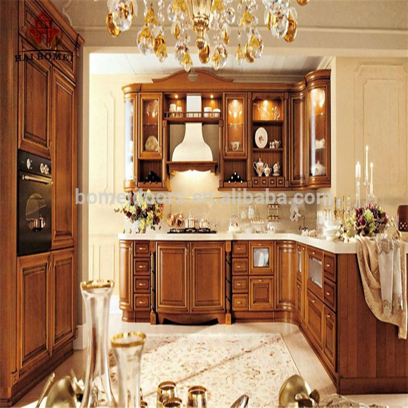 China factory wholesale luxury design solid wood kitchen