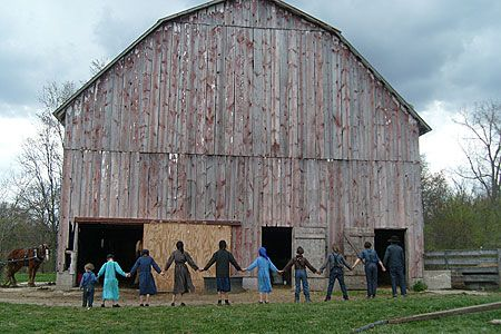 Picture Of Amish Right After They Finished Building This Barn